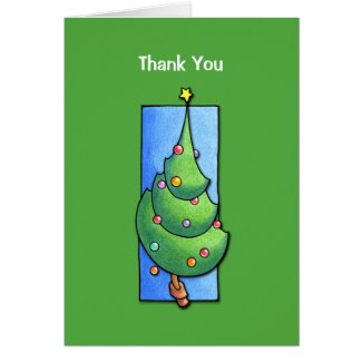 Christmas Tree green Thank You Note Card card