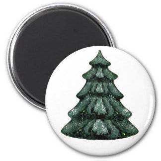 Christmas Tree Green  White OL The MUSEUM Zazzle 2 Inch Round Magnet