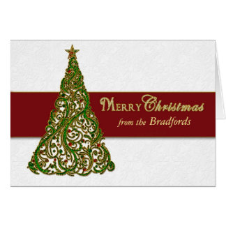Christmas Tree Greeting -  Tree inside/Personalize Card