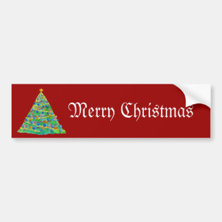 Christmas Tree Hand Drawn and Painted Bumper Sticker