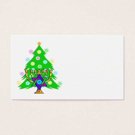 Christmas Tree Hanukkah Menorah Business Card