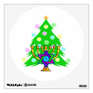 Christmas Tree Hanukkah Menorah Wall Sticker