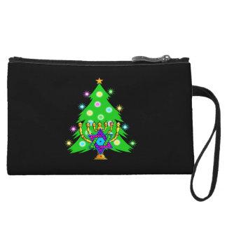 Christmas Tree Hanukkah Menorah Wristlet