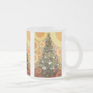 Christmas Tree Happy Holidays Circle Mosaic Frosted Glass Coffee Mug