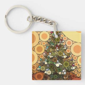 Christmas Tree Happy Holidays Circle Mosaic Keychain