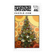 Christmas Tree Happy Holidays Circle Mosaic Postage Stamps