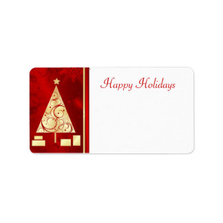 Christmas Tree - Happy Holidays Mailing Labels Custom Address Label