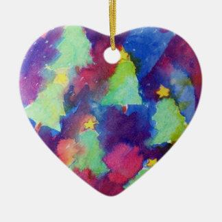 CHRISTMAS TREE Heart Ceramic Ornament