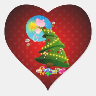 Christmas Tree Heart Sticker