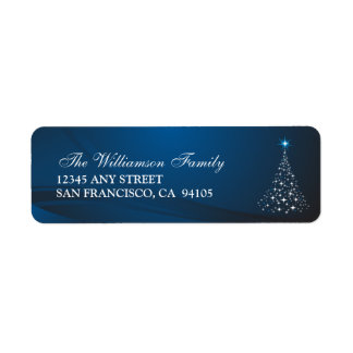 Christmas Tree Holiday Address Labels (blue)
