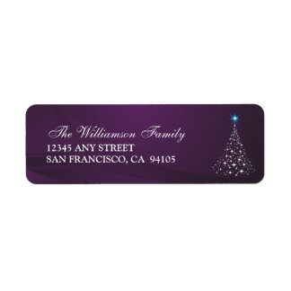 Christmas Tree Holiday Address Labels (purple)