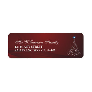 Christmas Tree Holiday Address Labels (red)