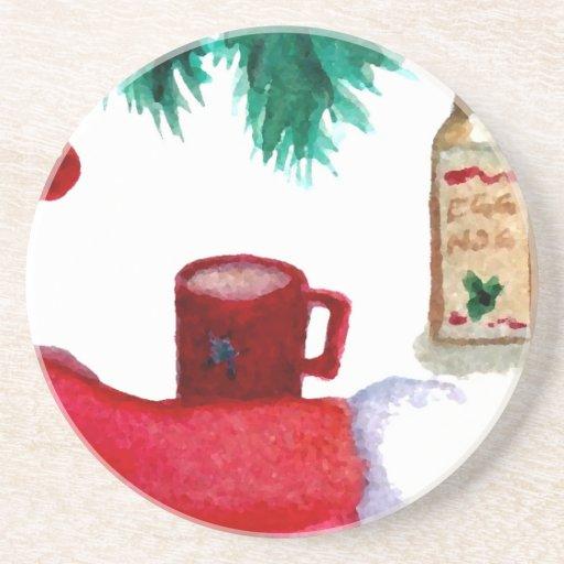 Christmas Tree Holiday Breakfast EggNog Stocking Beverage Coasters