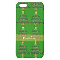 Christmas tree, holiday, green, red and yellow case for iPhone 5C