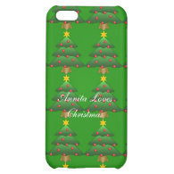 Christmas tree, holiday, green, red and yellow iPhone 5C cases