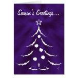 Christmas Tree Holiday Greeting Card, White/Purple