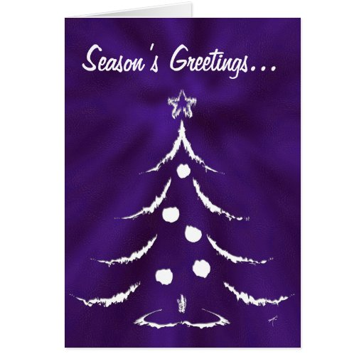 Christmas Tree Holiday Greeting Card White Purple Zazzle