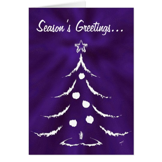 Christmas Tree Holiday Greeting Card, White/Purple Card