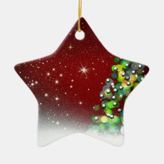 Christmas Tree Holiday Peace Love Destiny Double-Sided Star Ceramic Christmas Ornament