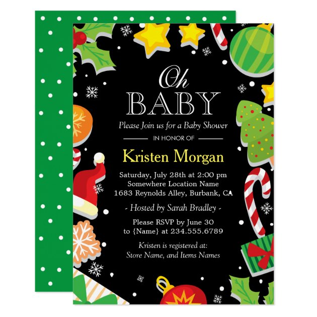 Christmas Tree Holly Berries Cute Baby Shower Card