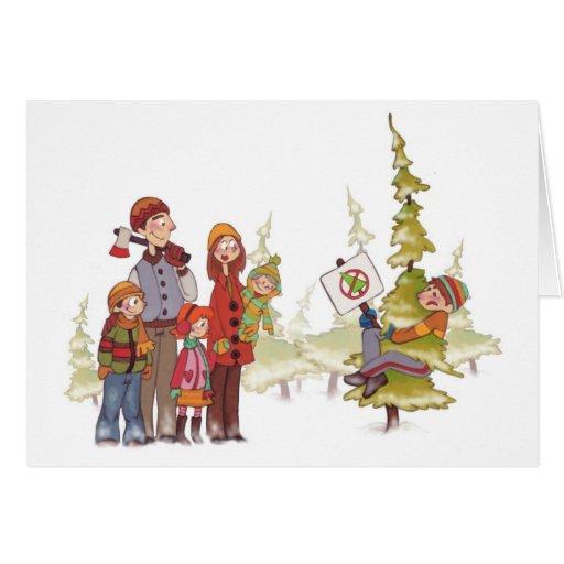 Christmas Tree Hugger Holiday card
