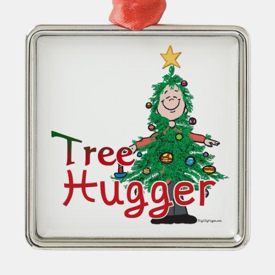 Christmas Tree Hugger Metal Ornament