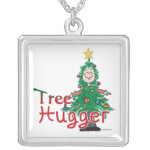 Christmas Tree Hugger Square Pendant Necklace