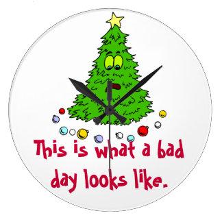Christmas Tree Humor Bad Day Large Clock