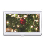 Christmas Tree I Holiday Pretty Green and Red Business Card Holder