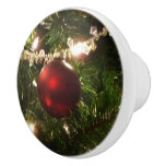Christmas Tree I Holiday Pretty Green and Red Ceramic Knob