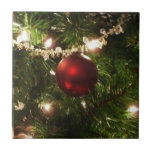 Christmas Tree I Holiday Pretty Green and Red Ceramic Tile