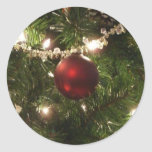 Christmas Tree I Holiday Pretty Green and Red Classic Round Sticker