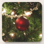 Christmas Tree I Holiday Pretty Green and Red Coaster