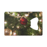Christmas Tree I Holiday Pretty Green and Red Credit Card Bottle Opener