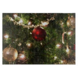 Christmas Tree I Holiday Pretty Green and Red Cutting Board