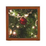 Christmas Tree I Holiday Pretty Green and Red Desk Organizer