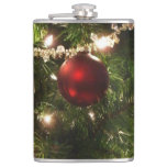 Christmas Tree I Holiday Pretty Green and Red Flask
