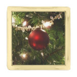 Christmas Tree I Holiday Pretty Green and Red Gold Finish Lapel Pin