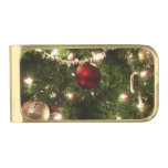 Christmas Tree I Holiday Pretty Green and Red Gold Finish Money Clip
