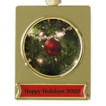 Christmas Tree I Holiday Pretty Green and Red Gold Plated Banner Ornament