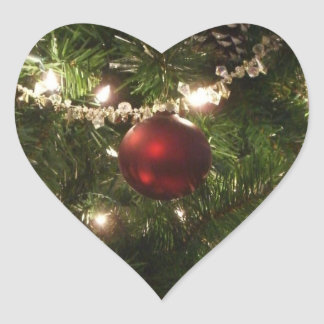 Christmas Tree I Holiday Pretty Green and Red Heart Sticker