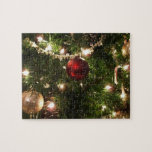 Christmas Tree I Holiday Pretty Green and Red Jigsaw Puzzle