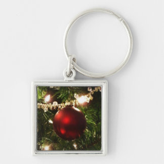 Christmas Tree I Holiday Pretty Green and Red Keychain