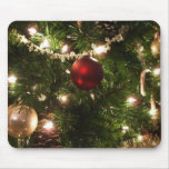 Christmas Tree I Holiday Pretty Green and Red Mouse Pad