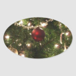 Christmas Tree I Holiday Pretty Green and Red Oval Sticker