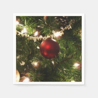 Christmas Tree I Holiday Pretty Green and Red Paper Napkin