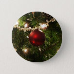Christmas Tree I Holiday Pretty Green and Red Pinback Button