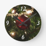 Christmas Tree I Holiday Pretty Green and Red Round Clock