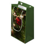 Christmas Tree I Holiday Pretty Green and Red Small Gift Bag