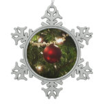Christmas Tree I Holiday Pretty Green and Red Snowflake Pewter Christmas Ornament